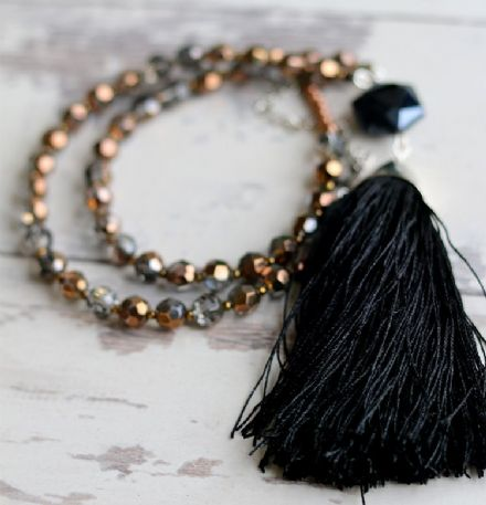 Black and copper  tassel necklace